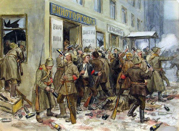 Comrades, today in 1917, in the town of Petrograd, now St. Petersburg, a group of Bolsheviks led by V.I. Lenin stormed the Winter Palace starting the Communist revolution which destroyed Russia.