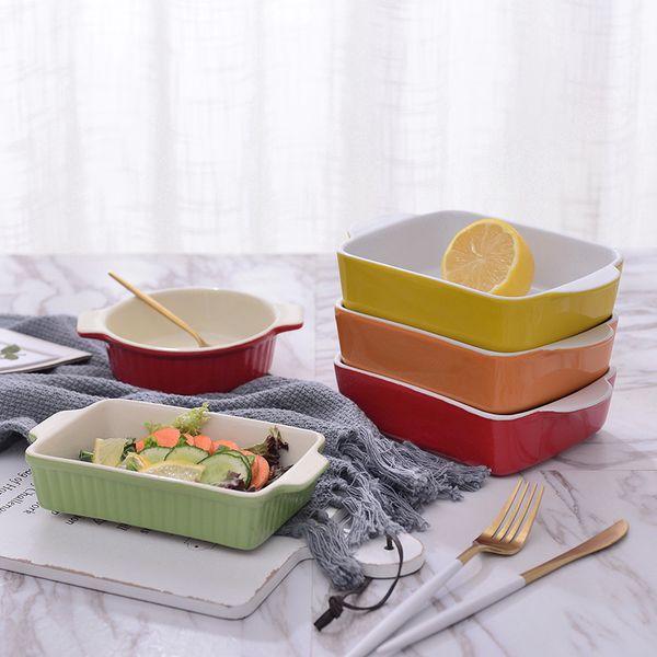 Творческие уши керамической выпечка запеченный в духовке рис из фруктов прямоугольной выпечки сырных блюд западной кухни дом