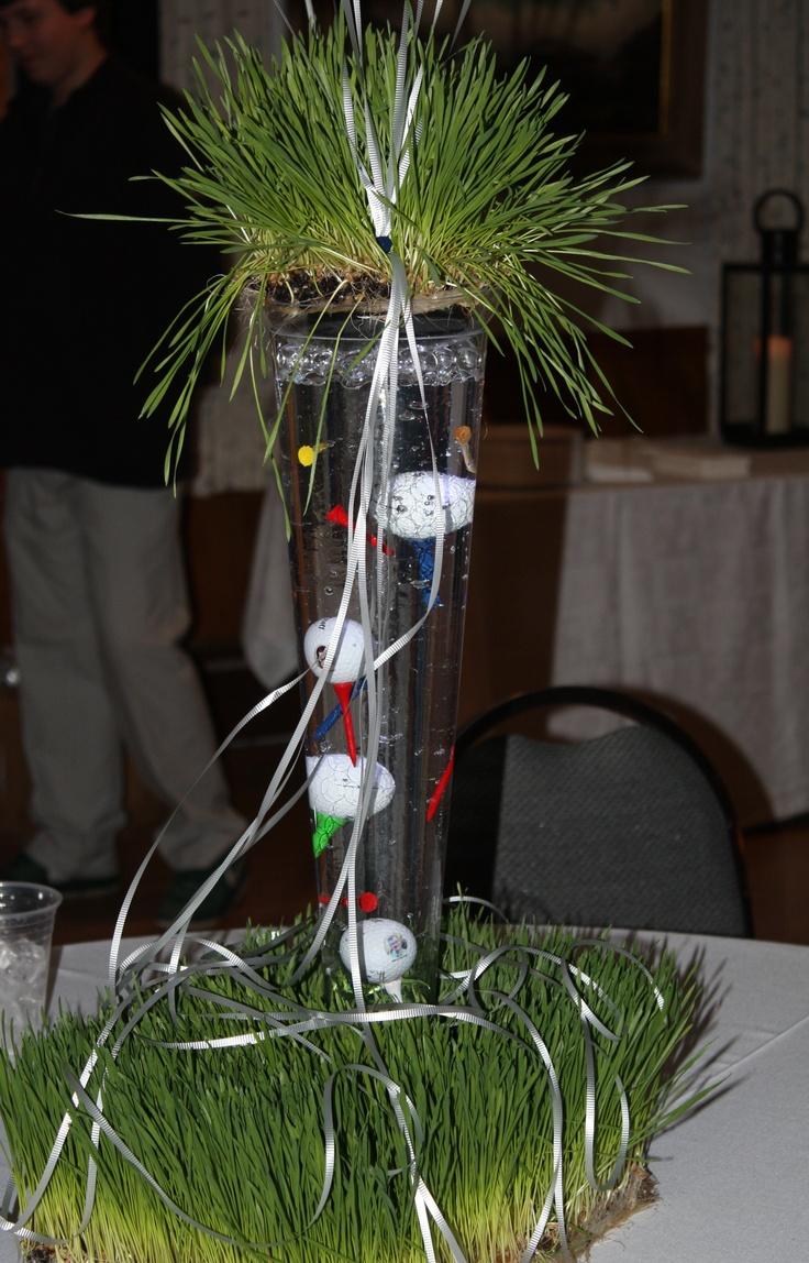 Centerpiece For Hubby S 60th Grass Atop Pilsner Vases
