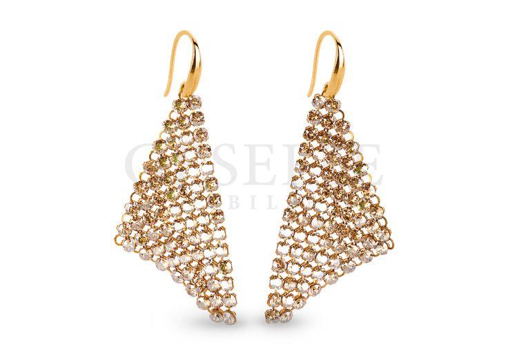 Wyjątkowe kolczyki z kolekcji Sparkling - złote wachlarze z kryształów Swarovski ELEMENTS w odcieniu Golden Shadow | SREBRO \ Kolczyki ŚLUB \ Srebro \ Kolczyki od GESELLE Jubiler