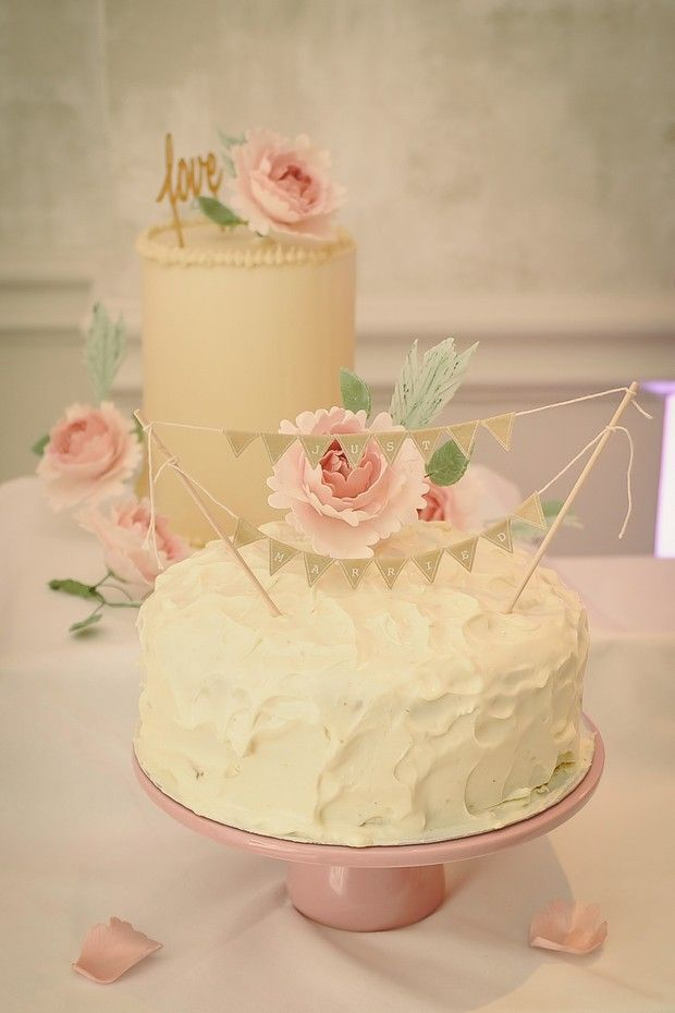 blush wedding cakes romantic vintage style word topper