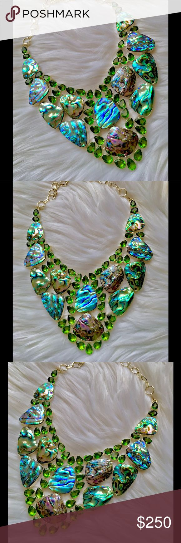 🌴🐳🐚 Abalone Shell & Peridot necklace 🐙🐬✨ Beautiful Abalone shell necklace embellished with Peridot gemstones, every piece of shell has a magical display of different markings & colors! Truly stunning ✨ Jewelry Necklaces