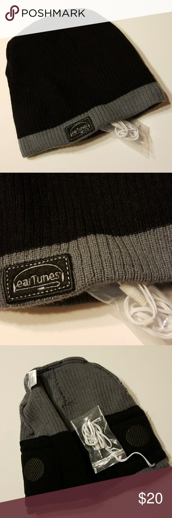 Ear Tunes Knit Hat Wired With Built in Speakers  ! BRAND NEW NEVER WORN  WORKS GREAT !!!  Black and Gray Knit Ski Hat  Fleece Lined Banding For Extra Warmth & Comfort With Built In Speakers! Just Plug in to your device ! Speaker for Each Ear Is Padded & Lined  No more Ear Buds to Fall Out!!! Unisex  Be Sure To Check Out The Rest of My Listings For Additional Mens Women's Kids Winterwear Scarves Mittens Coats Hats Boots Socks  ✔ BUNDLE UP FOR SAVINGS  ✔ Ear Tunes Accessories Hats