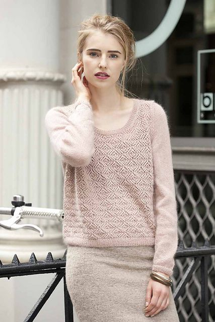 Ravelry: #12 Lacy Pullover pattern by Sarah Hatton. I saw a jumper I really wanted to buy that was identical to this but was extortionate. Going to make my own instead! Love it.