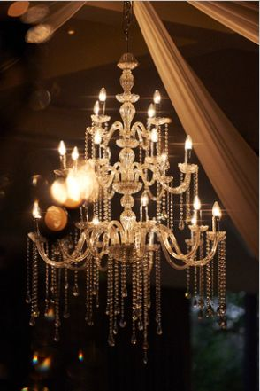 Stunning chandeliers on the ceiling by Centrepiece by Design