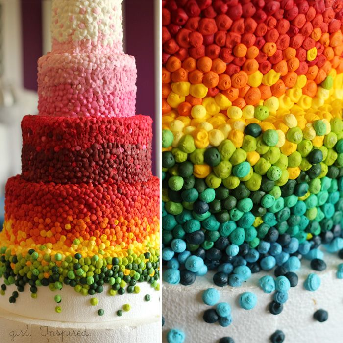 Construction of a Rainbow Cake by Girl. Inspired.