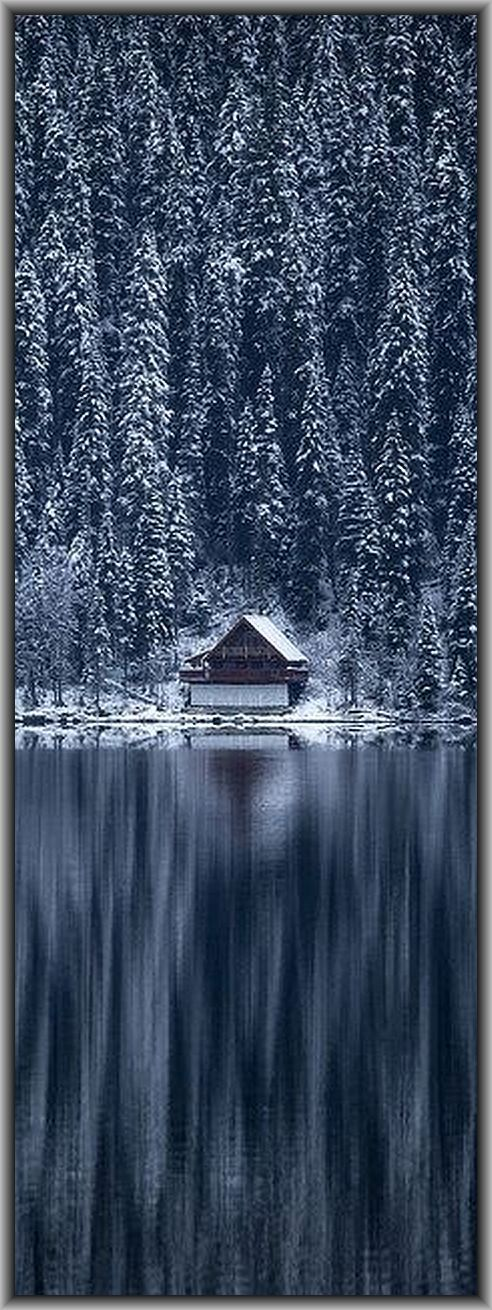 CANADA - CABIN - British Columbia - Cariboo Mountains - Bowron Lake #by robert downie on flickr.com #winter snow forest landscape amazing reflection tree blue white