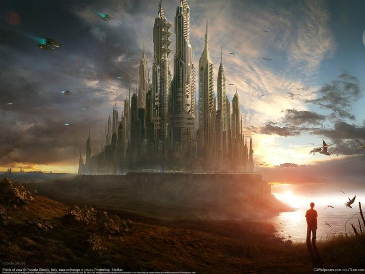 Download 1600x1200 city, castle, progress, space, person Wallpaper Fullscreen WallpapeprsCraft