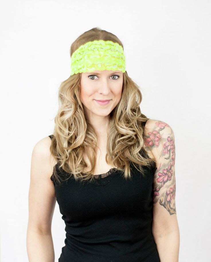 Neon Yellow Lace Headband Wide Floral Stretchy by ForgottenCotton, $12.00