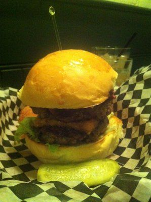 The Contender: Double patty with pastrami, fried haloumi and baconaise. Called the best burger in Roncy!