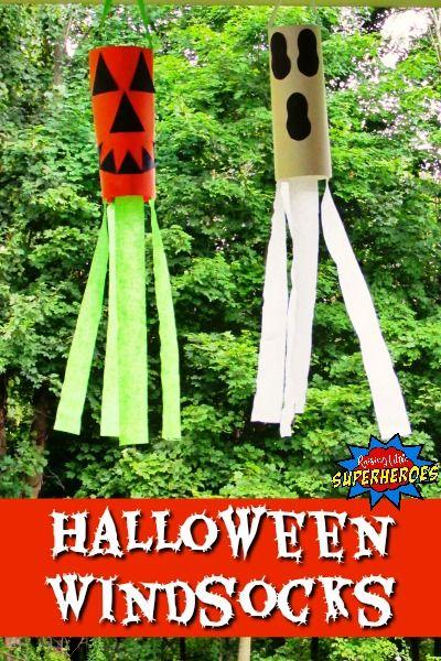 how to make pumpkin and ghost halloween windsocks