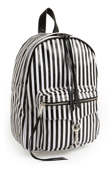 Leather and stripes. The perfect combo! Rebecca Minkoff 'M.A.B.' Backpack available at #Nordstrom