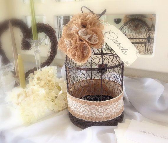 Wedding Bird Cage Card Holder Rustic Wedding by LollysCubbyHole