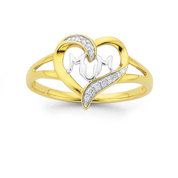 9ct Gold Diamond 'Mum' Ring