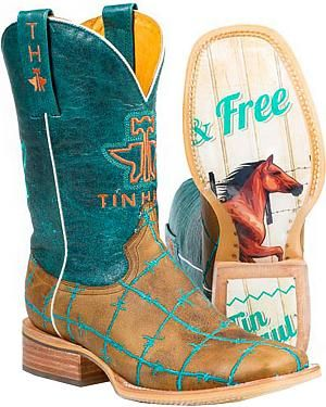 Tin Haul Womens Wild and Free Cowgirl Boots - Square Toe: Genuine leather upper. Embroidered Tin… #CowboyClothing #Westernwear #CowgirlBoots