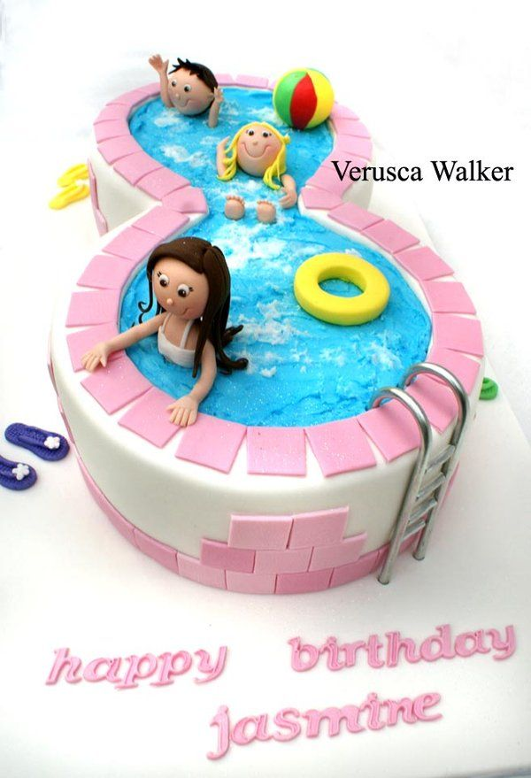 swimming pool cake...ps happy birthday to me...just kidding my name is listed there though LOL CUTE!