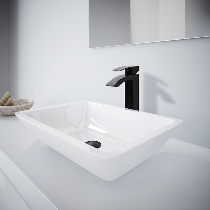 Vigo Medium Flat-Edged Rectangular Phoenix Stone Vessel Bathroom Sink And Duris Vessel Faucet Set