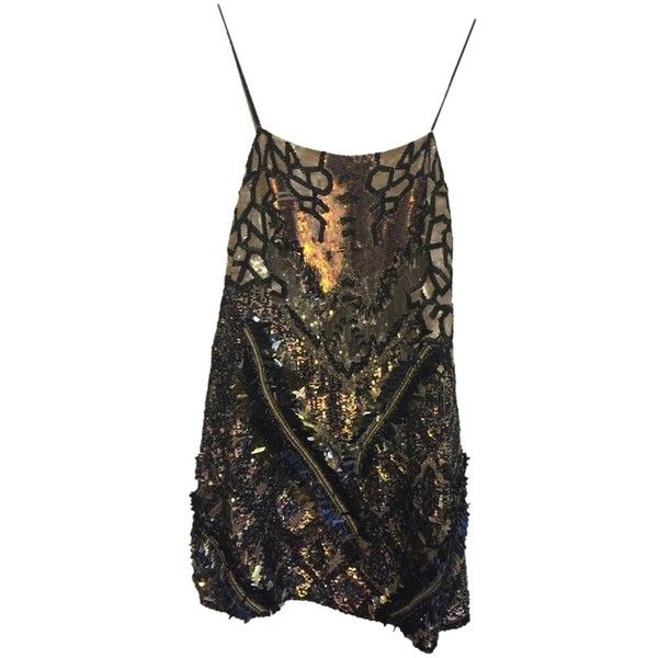 Pre-owned Allsaints Black And Gold With Iridescent Sequins And Beads... (3,810 THB) ❤ liked on Polyvore featuring dresses, fitted dresses, sequin cocktail dresses, allsaints dress, preowned dresses and loose fitted dresses