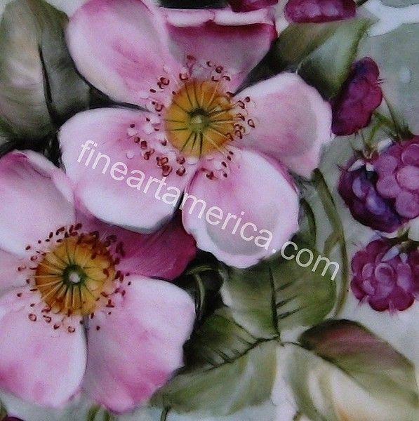 833 Wild Rose  Blackberry Plate Ceramic Art by Wilma Manhardt