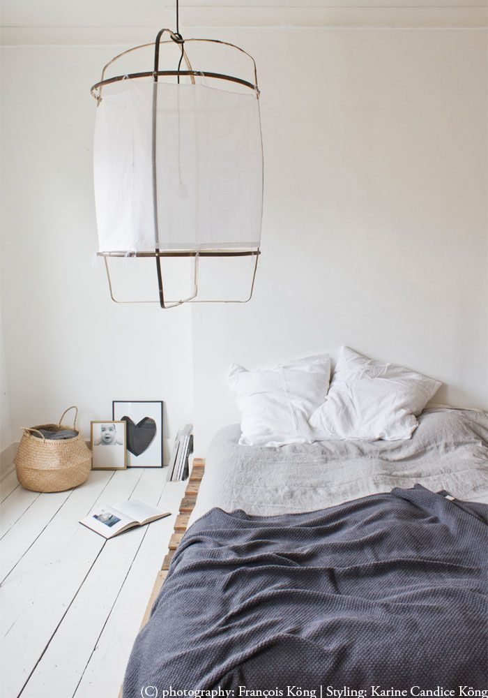 bed on floor, white wood floor, airy light with a white cotton or linen shade...whats not to love
