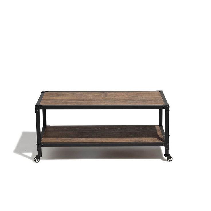 Table Basse A Roulettes Naturelle Et Noire Chicago Table Basse Et D Appoint Salon Meuble Gifi Table Basse Roulette Table Basse Meuble Gifi
