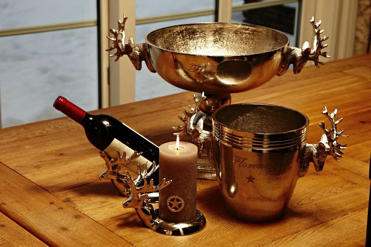 Florence champagne cooler + wine cooler, deer candle holder, that can also be used as a wine presenter! :)