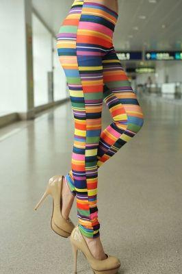 Chromatic Stripe Printed Leggings
