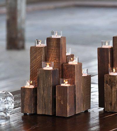 Rustic and geometric wood create a unique candelabra