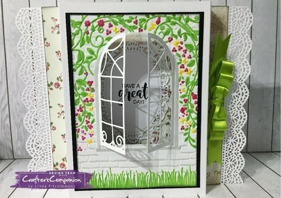Diorama card made using Crafter's Companion 3D Embossing Folder – Country Cottage and Die'sire Classiques Dies – Cottage Window. Designed by Linda Fitzsimmons #crafterscompanion