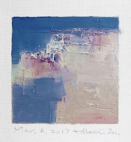 "Mar. 6, 2017 9 cm x 9 cm (app. 4"" x 4"") oil on canvas © 2017 Hiroshi Matsumoto"