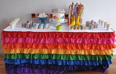LOVE this dessert table skirt!