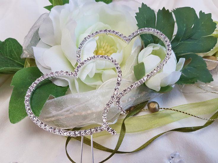 Hochzeitsdeko - 2 Strass-Herzen für Hochzeitstorte, Cake Topper - ein Designerstück von BriDeh-Collection bei DaWanda
