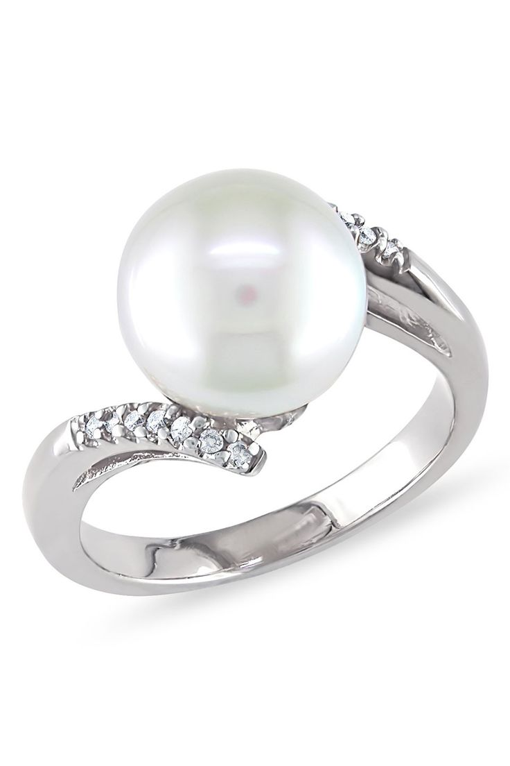Tahitian Pearl 995mm South Sea Pearl & Diamond Ring In 14k White Gold