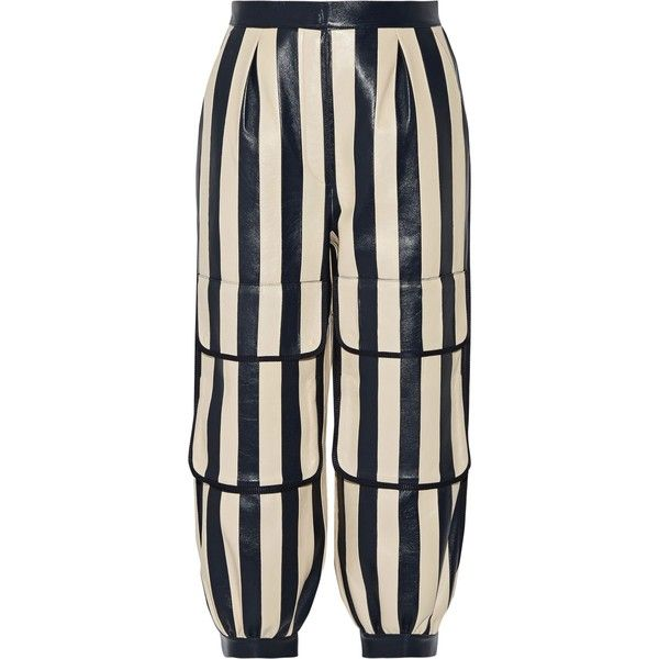 FENDI  Cropped striped leather tapered pants ($1,355) ❤ liked on Polyvore featuring pants, capris, tapered trousers, blue crop pants, striped trousers, blue leather pants and genuine leather pants