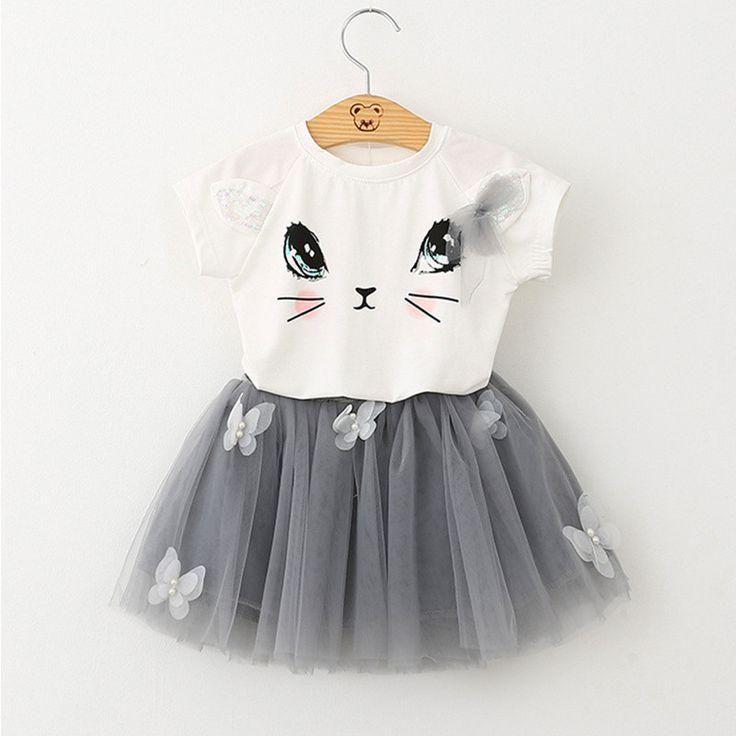 Girls Dress 100% Summer Fashion Style Cartoon Cute Little Kitten Printed Dress