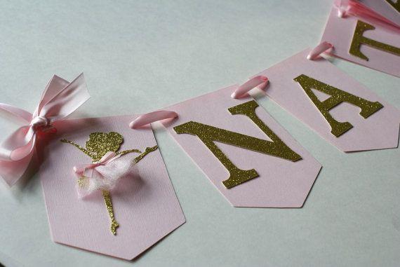 Nombre de bailarina cumpleaños bailarina Banner, color de rosa y oro bandera, partido bailarina, tutú bandera, tema bailarina (bola-PG)