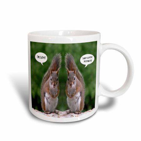 3dRose Red Squirrel Humor, Ceramic Mug, 15-ounce