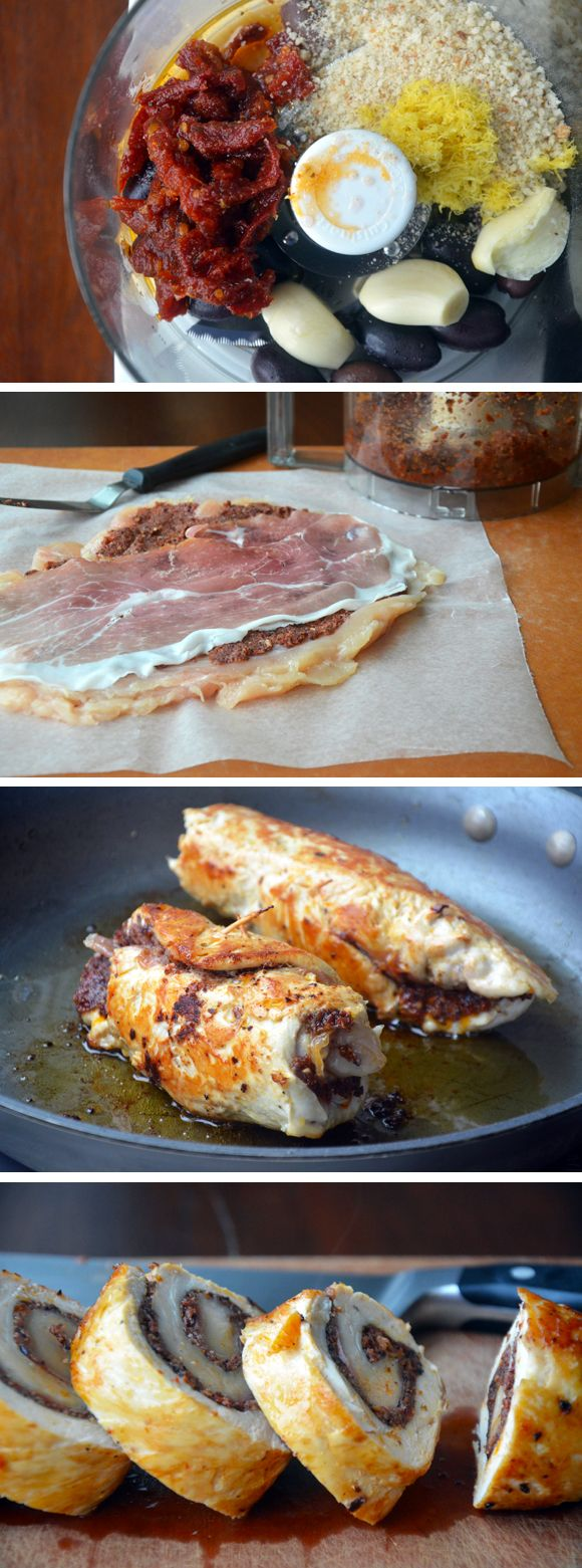 Easy Chicken Roulades with Tapenade and Prosciutto from justataste.com #recipe