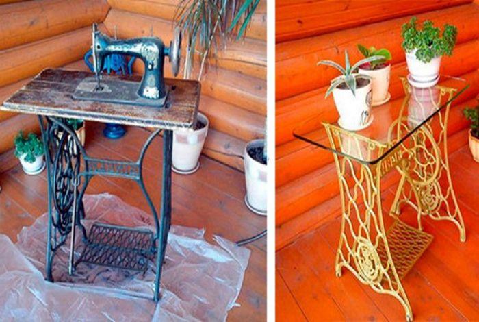 Столик из старой швейной машинки.