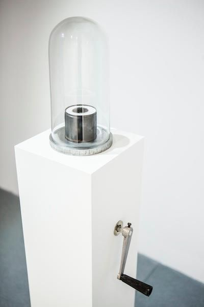 Michal Smandek, Untitled, 2013, sculpture (steel, paper, glass, plastic, wooden pedestal)