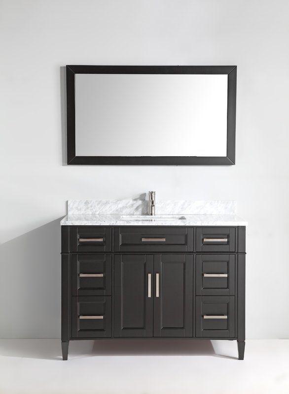 Lachine 48 Single Bathroom Vanity Set With Mirror In 2020 Bathroom Vanity Single Bathroom Vanity Marble Bathroom Vanity