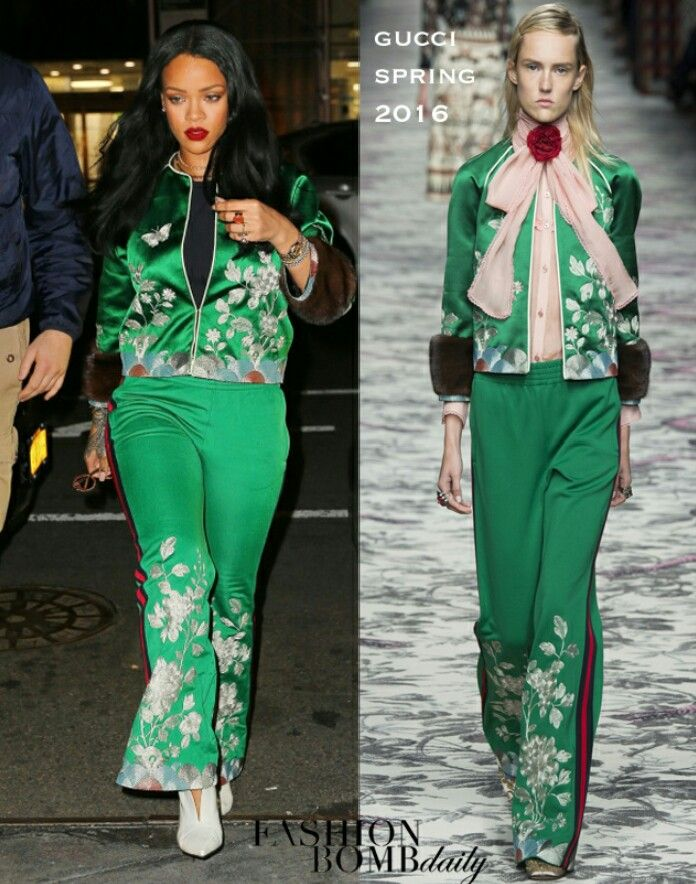 1473802d8a1a Rihanna embraced Spring florals whilst out and about in NYC in a Spring 2016  glance via Gucci  She is shocking! Purple lips performed off the fairway  tones ...