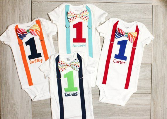 Rainbow Birthday Outfit Baby Boy Cake Smash Circus 1st First Shirt 2nd Clothes