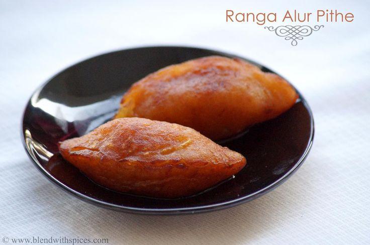Ranga Alur Puli Pithe (Coconut Stuffed Sweet Potata Dumplings) - A Traditional Bengali Festival Sweet for Makar Sanktranti Festival. Step by Step Recipe - blendwithspices.com