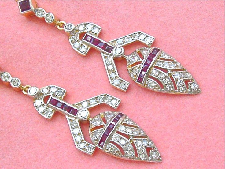 www.MelsAntiqueJewelry.com ESTATE ART DECO 1.50ctw DIAMOND .75ctw RUBY 2 TONE 18K DANGLE WIRE EARRINGS #Unbranded #ARTDECODANGLECOCKTAIL