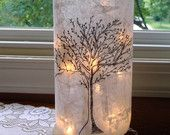 Bare Tree Wine Bottle Lamp: Wine Bottle