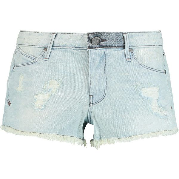 RtA Leo distressed shorts (305 BRL) ❤ liked on Polyvore featuring shorts, light denim, mid rise shorts, ripped short shorts, slim shorts, petite shorts and light blue shorts