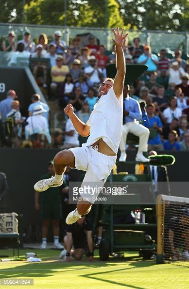 LONDON, ENGLAND - JULY 05: Jerzy Janowicz of Poland celebrates victory during the Gentlemen's Singles second round match against Lucas Pouille of France on day three of the Wimbledon Lawn Tennis Championships at the All England Lawn Tennis and Croquet Club on July 5, 2017 in London, England. (Photo by Michael Steele/Getty Images)