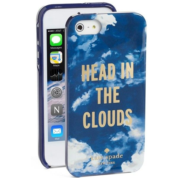 Women's kate spade new york 'head in the clouds' iPhone 5 & 5s case ($38) ❤ liked on Polyvore featuring accessories, tech accessories, p…