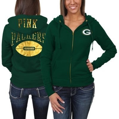 Victoria's Secret PINK Green Bay Packers Ladies Bling Full Zip Hoodie